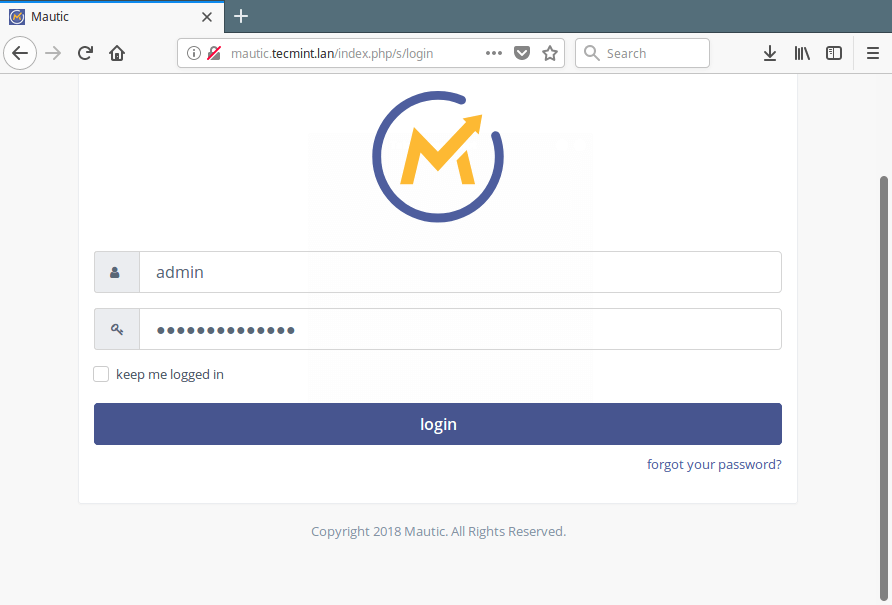 Mautic Admin Login
