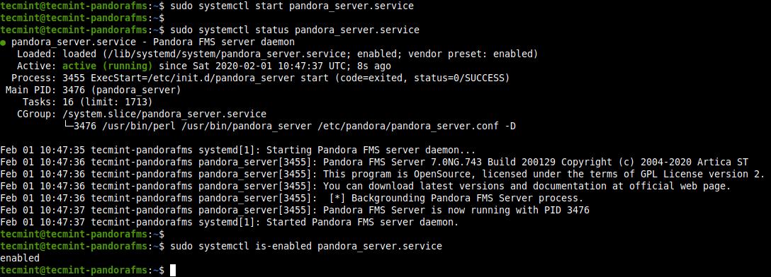Check Pandora FMS Service Status