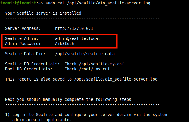 Seafile Admin Login Credentials