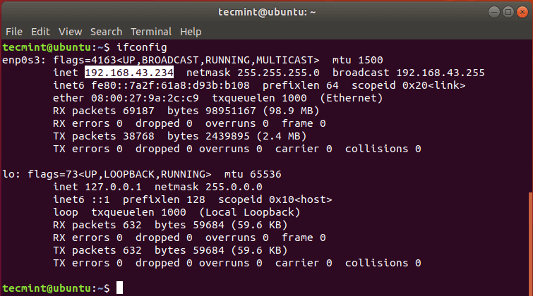 Check Ubuntu Server IP Address