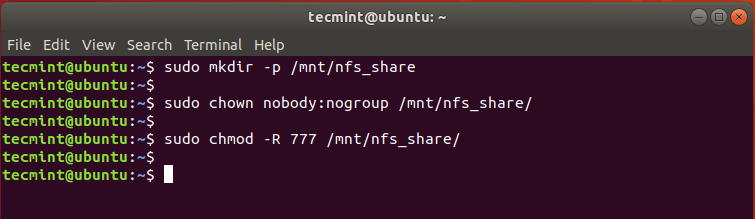Create NFS Share in Ubuntu