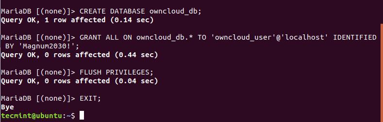 Create OwnCloud Database in Ubuntu