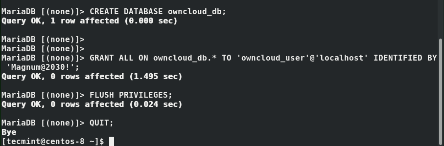 Create OwnCloud Database