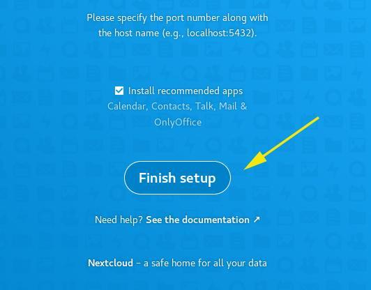 Finish NextCloud Setup