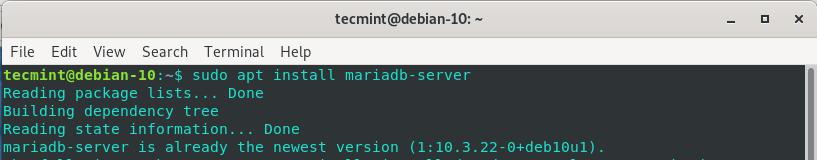 Install MariaDB in Debian