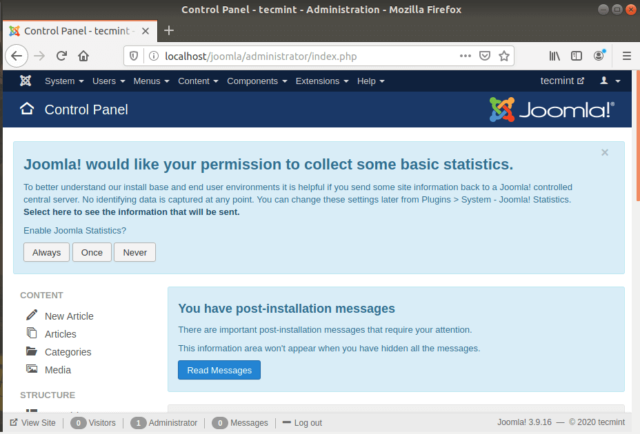 Joomla Dashboard in Debian