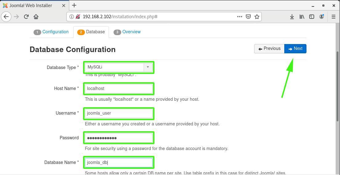Joomla Database Settings