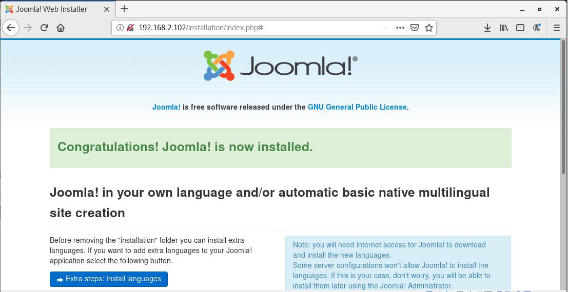 Joomla Installation Completed