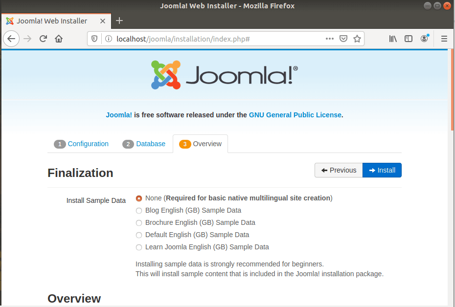 Joomla Installation Overview