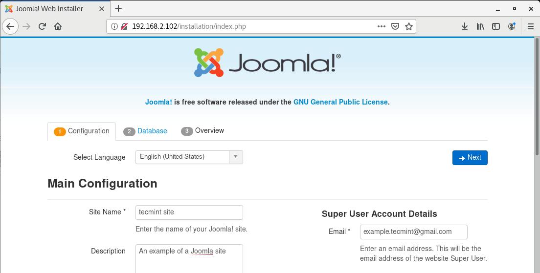Joomla Installation Wizard