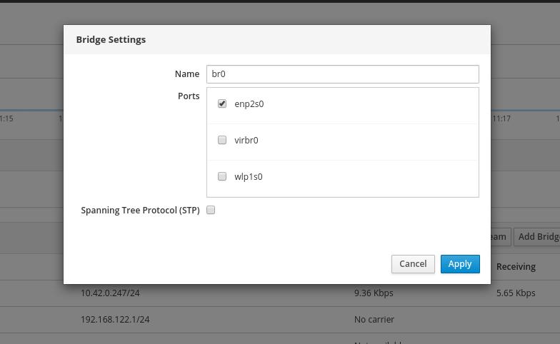 Add Network Bridge Settings