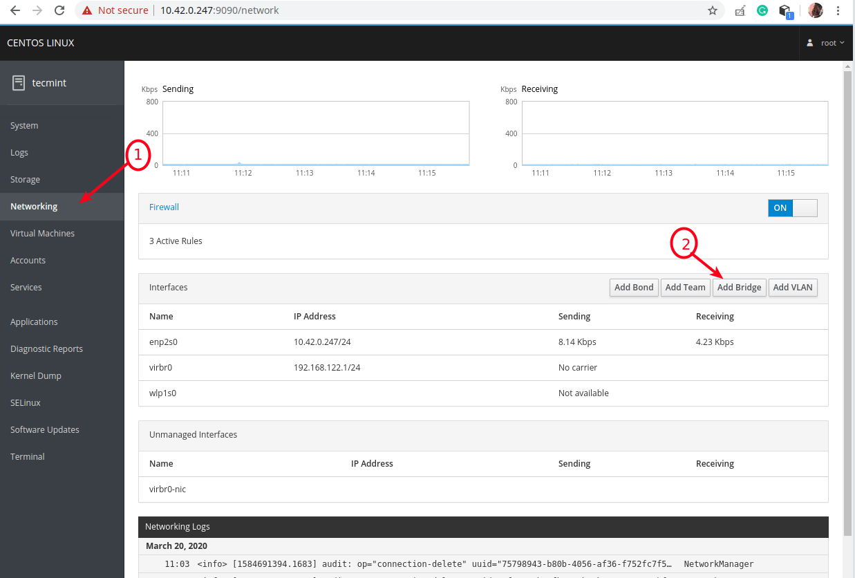 Choose Networking in Cockpit Web Console