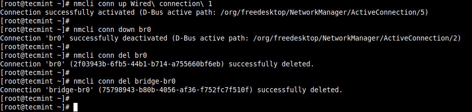 Delete Bridge Network Connection