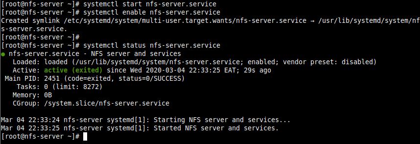 Verify NFS Server Status