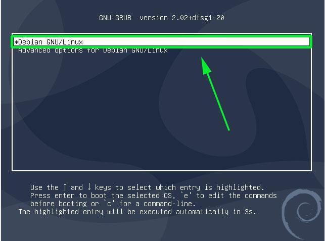 Debian Grub Menu