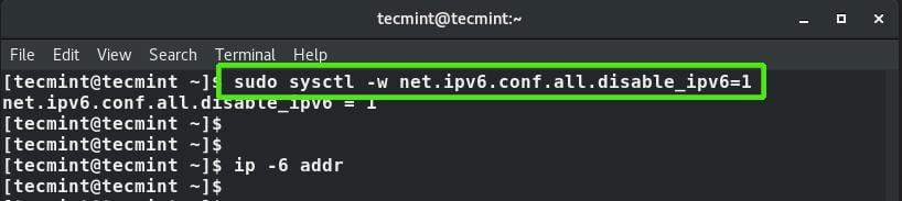 Disable IPv6 Address