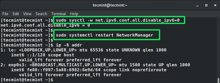 Enable IPv6 Address