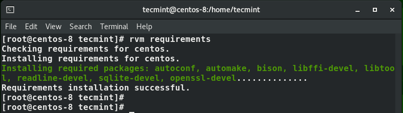 Install RVM Requirements in CentOS 8