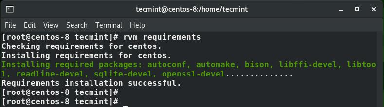 Installare i requisiti RVM in CentOS 8