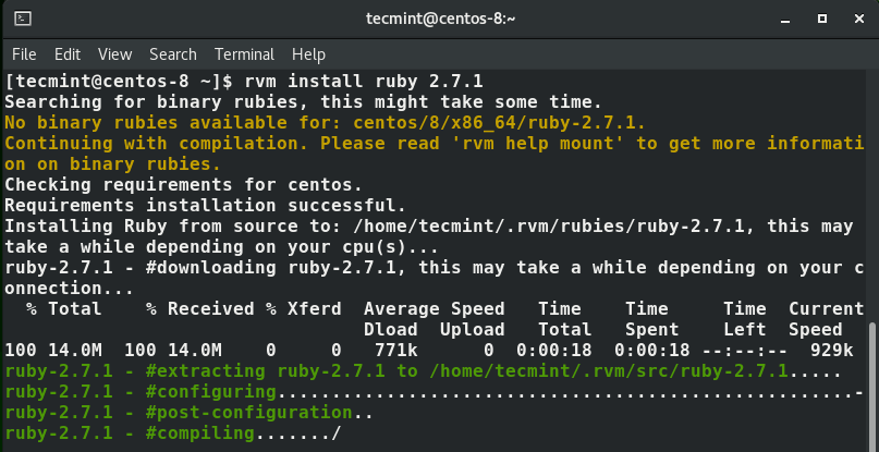 Instale o Ruby usando RVM no CENTOS 8