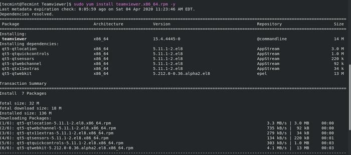 Install TeamViewer on CentOS 8