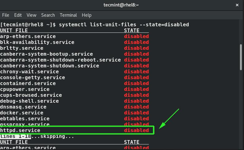 List Disabled Network Services