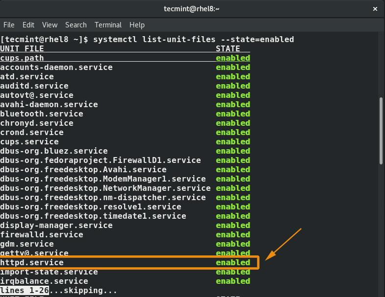 List Enabled Network Services
