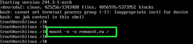 Mount Root Filesystem in Arch Linux