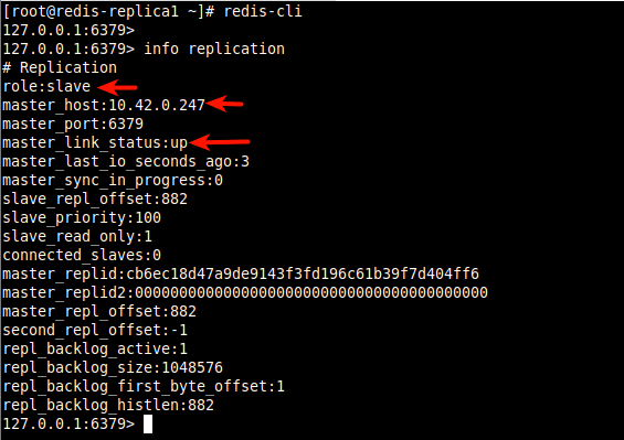 Check Redis Replication Info on Redis Replica 1