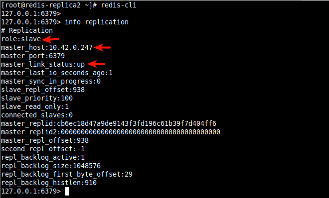 Check Redis Replication Info on Redis Replica 2