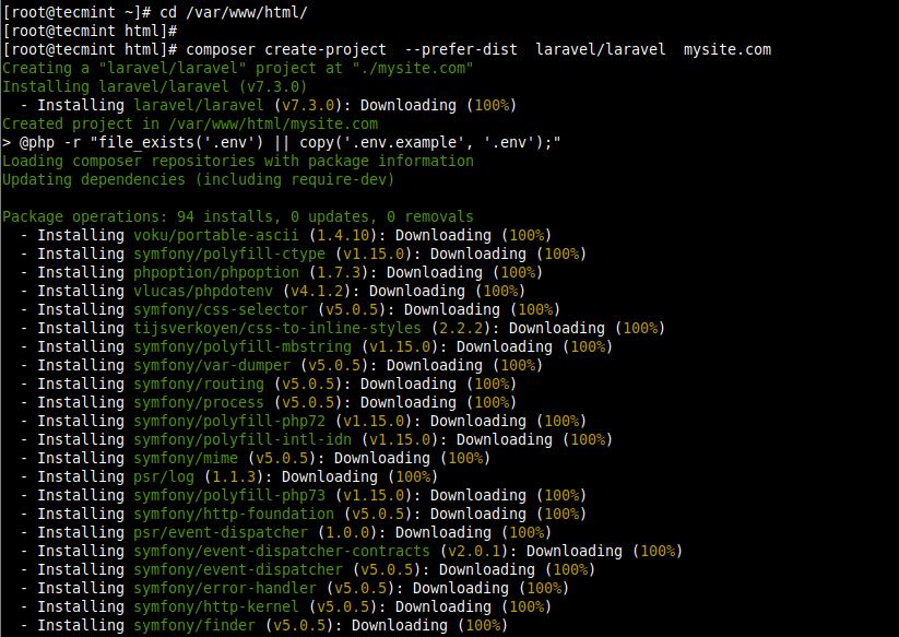 Install Laravel in CentOS 8