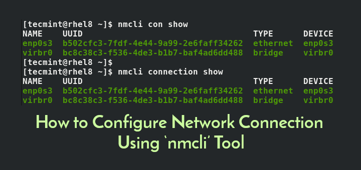 Configure Network Using nmcli Tool