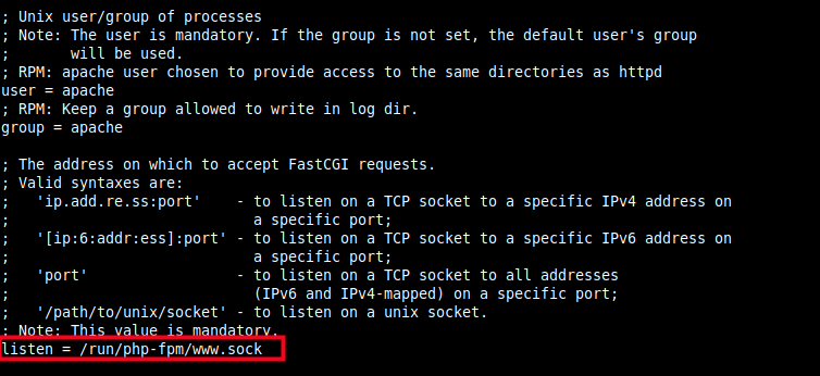 Set PHP-FPM Listen Socket