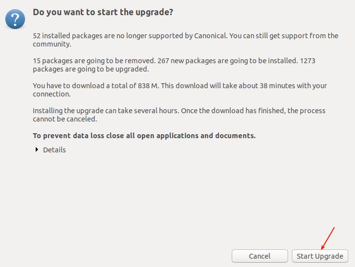 Start Ubuntu Upgrade Process