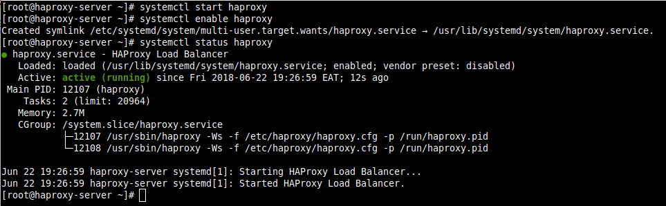 Verify HAProxy Status in CentOS 8