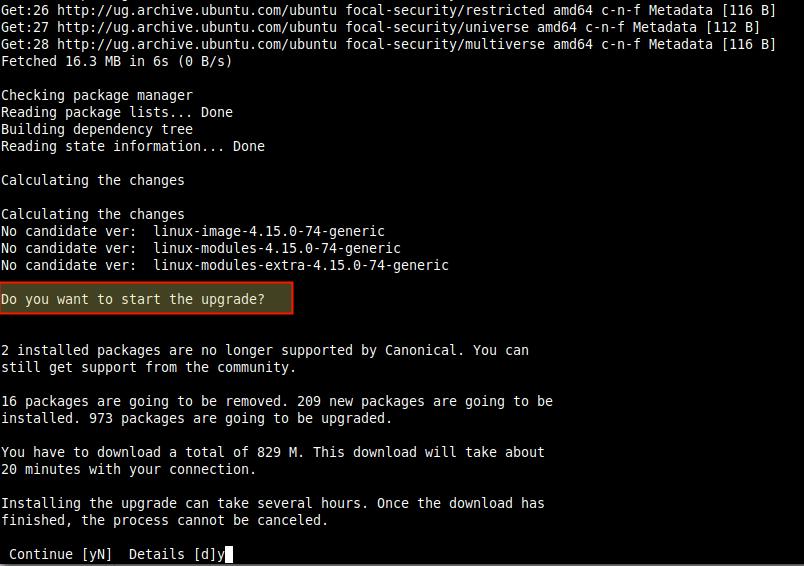 Start Ubuntu Server Upgrade