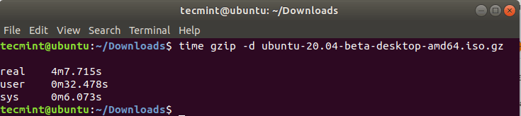 Check Gzip Decompression Time