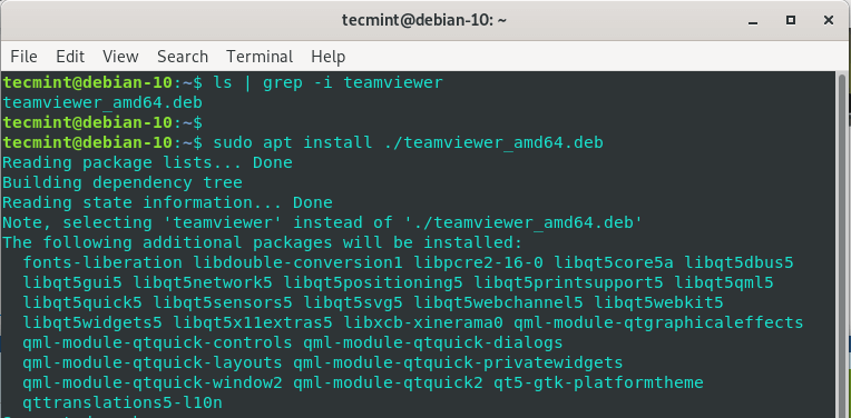 Install TeamViewer on Debian