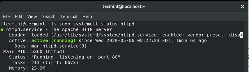 Verify Apache Status