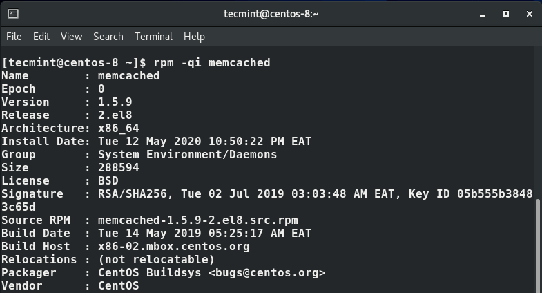 View Memcached Information