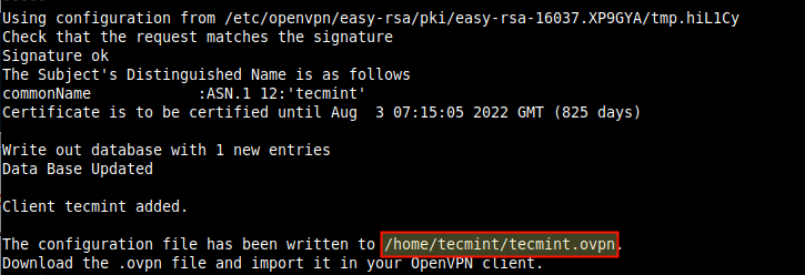 OpenVPN Installation Summary