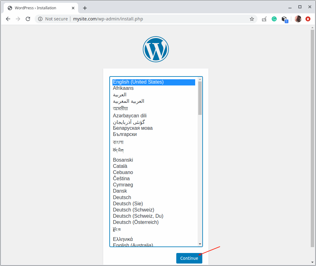 Select WordPress Installation Language