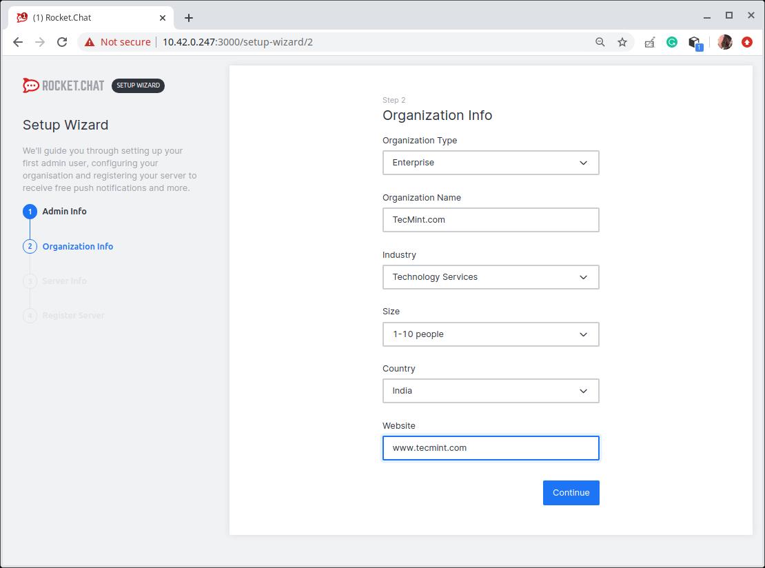 Enter Organization Info