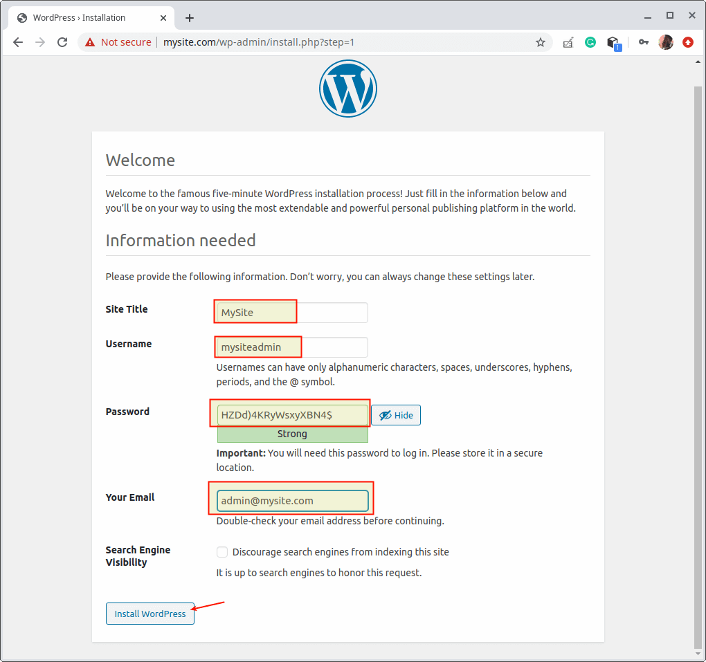 Add WordPress Site Details