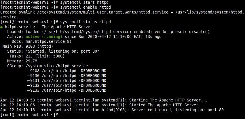 Verify Apache Web Server Status