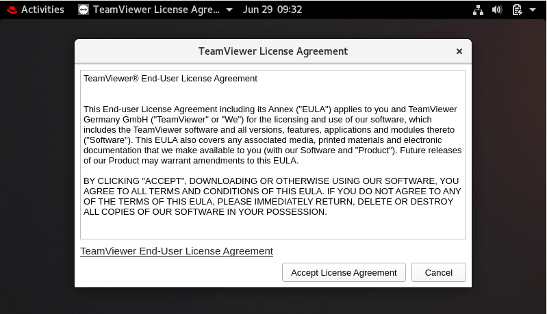 Accept TeamViewer License Agreement
