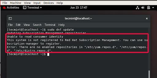 RHEL 8 RedHat Subscription Management Error