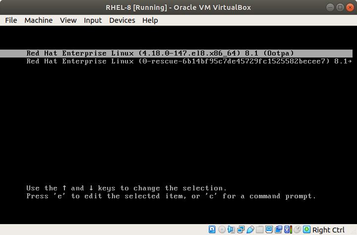 Select RHEL 8 from Grub