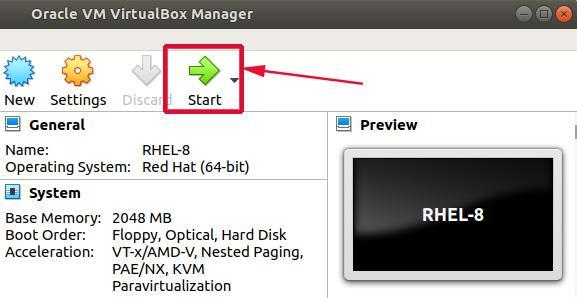 Start RHEL 8 VM