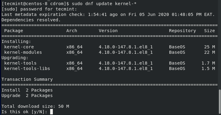 Update Kernel in CentOS 8